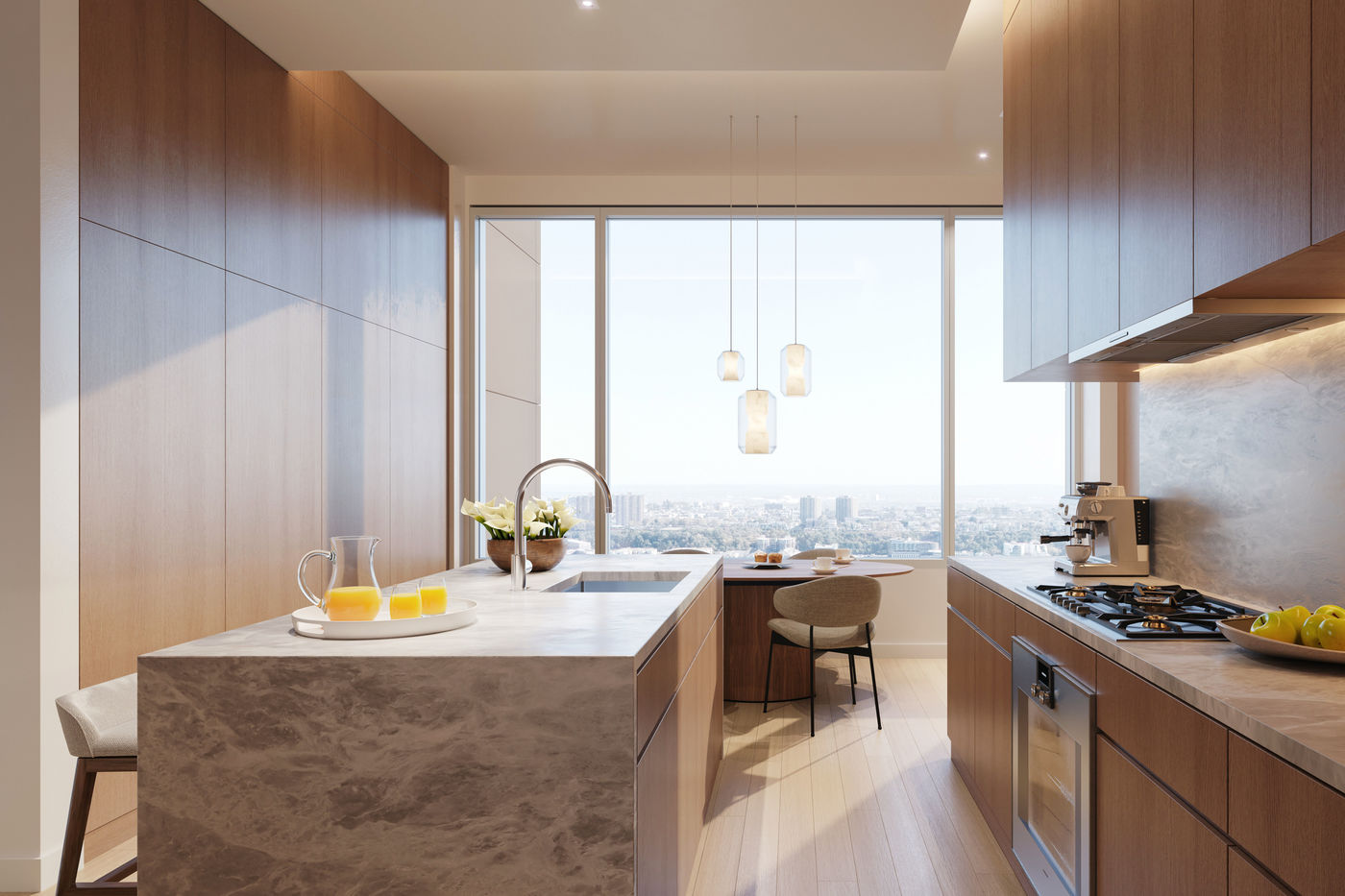Gabellini Sheppard Associates kitchen design for Alvaro Siza building 611 West 56th Street in Hell's Kitchen, New York City